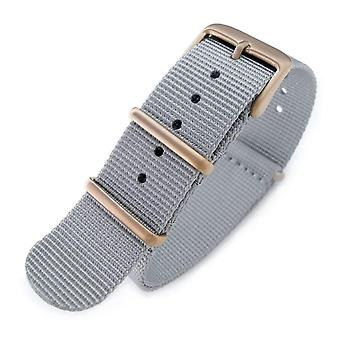 Strapcode n.a.t.o watch strap 20mm g10 military watch band nylon strap, military grey, ip champagne, 260mm
