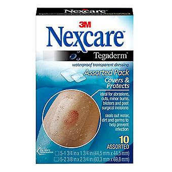 3m nexcare tegaderm, waterproof transparent dressing, assorted, 10 ea