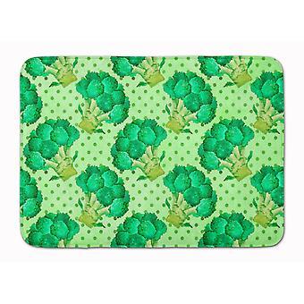 Watercolor Broccoli Machine Washable Memory Foam Mat