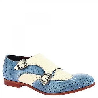 Leonardo Shoes Women-apos;s handmade monks loafers white denim openwork goat leather