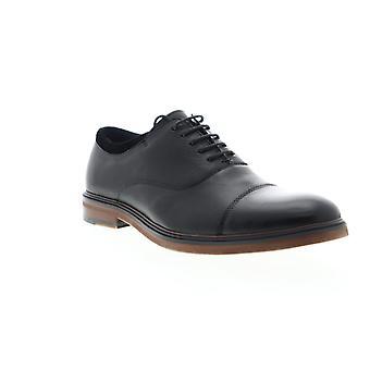 Zanzara Hans  Mens Black Leather Casual Lace Up Oxfords Shoes