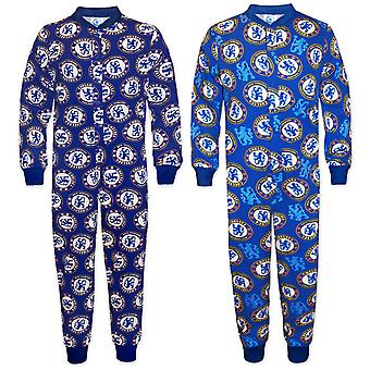 Chelsea FC Boys Pyjama All-In-One Sleepwear Kids OFFICIAL Football Gift