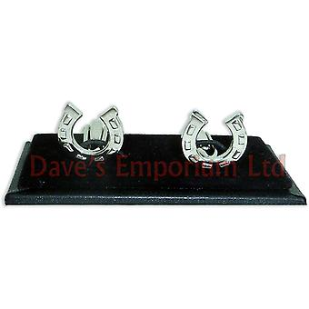 Lucky Horseshoe Cufflinks - Gift Boxed - Silver Horse Shoe Rhodium Cuff Links