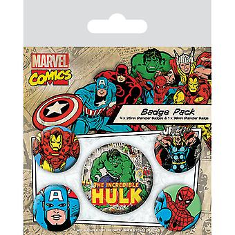 Marvel Retro Incredible Hulk Pin Button Insigne Set