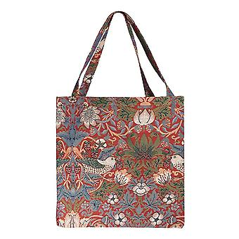 Strawberry thief red gusset bag | womens tapestry foldable bag | guss-strd
