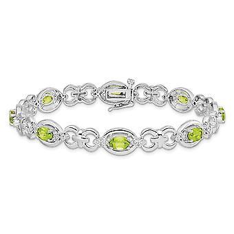 Natural Green Peridot Link Bracelet 4.00 Carat (ctw) in Sterling Silver