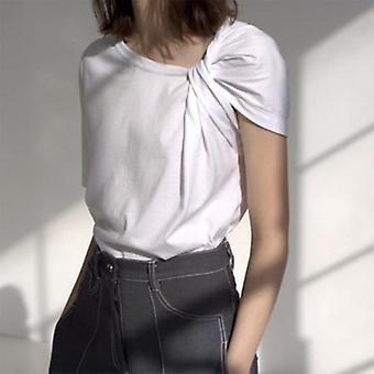 Ruched camiseta básica manga corta de tamaño grande irregular