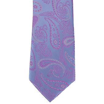 Michelsons of London Delicate Paisley Silk Tie - Light Blue/Pink