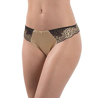 Aubade MD26 Women's Femme Glamour Black and Gold Lace Knicker Panty Tanga