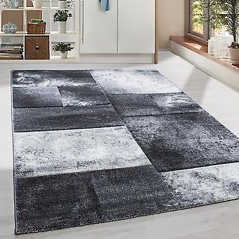 Short floral design rug rectangle plaid modèle de salon tapis gris marbré