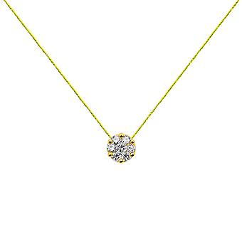 Choker Flower Cluster 18K Gold and Diamonds, on Thread - Yellow Gold, NeonYellow