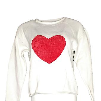 North Style Women's Sweater Long Sleeve Heart High Neck White