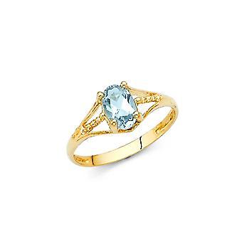 14k sárga arany CZ köbös cirkónia szimulált Diamond Mar Fiúk és lányok Gyűrű Méret 3 - 1,0 Gramm