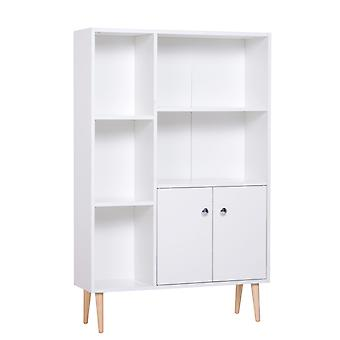 HOMCOM Open Bookcase Storage Cabinet Shelves Unit Free Standing w/ Two Doors Wooden Display White