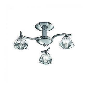 Chrome Ceiling Light In Twista Crystal 3 Bulbs