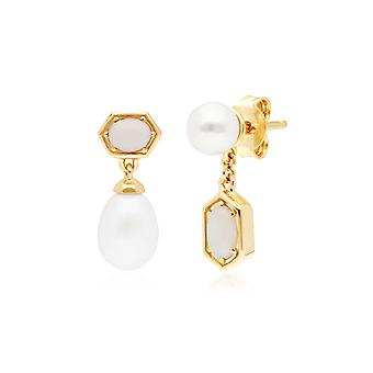 Modern Pearl & Opal Mismatched Drop Earrings in Gold Plated Sterling Silver 270E030601925