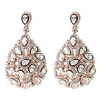 Latelita Peacock Feather Large Statement Boucle d'oreille 925 Sterling Silver Rose Gold