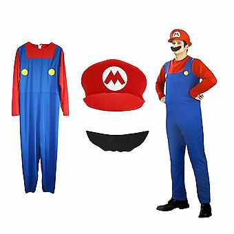 Super Mario Bros Mens Cosplay Fancy Dress Outfit Costume