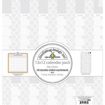 تصميم Doodlebug اليومية خربشات 12x12 بوصة ورقة التقويم ليلي الأبيض
