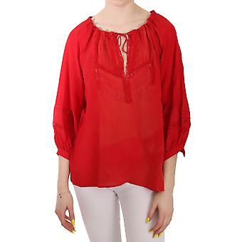 Ermanno Scervino Red Long Sleeve Tie Geborduurde Top Blouse - TSH3314480
