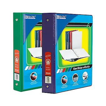 Combo87, BAZIC 1.5 Inch 3-Ring View Binder with 2-Pockets (Case pack of 24 consist 12-Green & 12-Purple)