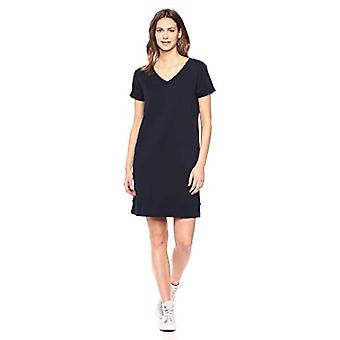 Brand - Daily Ritual Women's Terry Cotton and Modal Short-Sleeve V-Neck Dress, Navy, Small