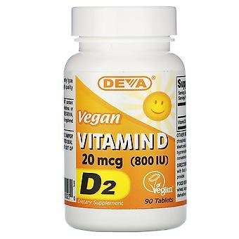 Deva, Vitamina Vegana D, D2, 20 mcg (800 UI), 90 Tabletas
