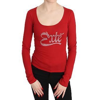 Red Exte Crystal verfraaid lange mouw top blouse