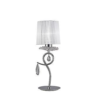 inspirert mantra - louise - bordlampe 1 lys E27 med hvit skygge polert krom, klar krystall