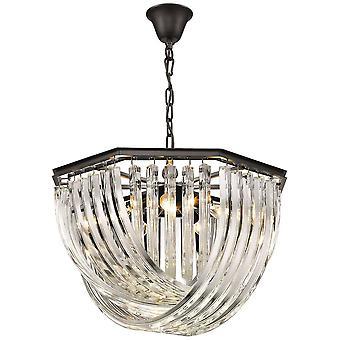 Veerverlichting - 5 licht plafond hanger zwart chroom, helder met kristallen, E14