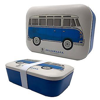 VW matkailuauto T1 leipävuoka bambu sininen/valkoinen, painettu, 100% bambu, silikonihihna.