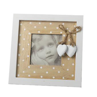 White Wooden Spotty Frame with Hearts By Heaven Sends