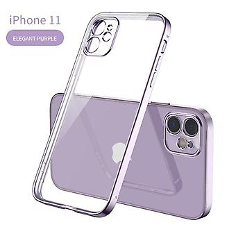 Square Plating Soft Transparent Case Achterkant voor iphone 11 / 12 / Pro / Xs / Max/ 7/ 8/ Plus/ Xr/ Xs