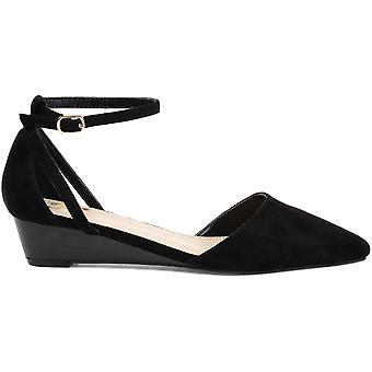 Brinley Co. Womens Pointed Toe Ankle Strap Sliver Wedge