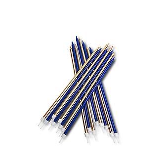 Tall Blue Metallic Candles | Long Birthday Cake Toppers Party Decoration 18cm
