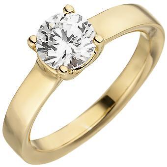 Women's Ring 585 Gold Yellow Gold 1 Diamond Brilliant 1.0ct. Diamond ring solitaire