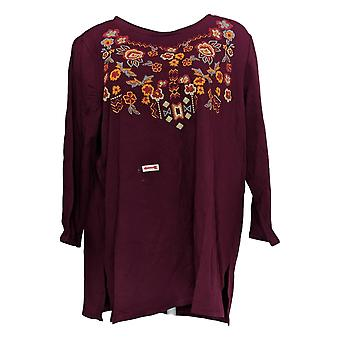 Antthony Women's Plus Top 1X Floral Embellished 3/4 Sleeve Tee Red 677-725