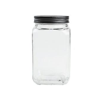 T & G Jar Square Black Lid 1220ml 13141