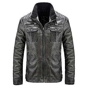 Winter autumn leather men's padded biker motorcycle pu jacket