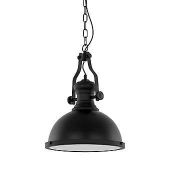 Italux Maeva - Industrie und Retro hängen Anhänger schwarz 1 Licht mit Glasschirm, E27
