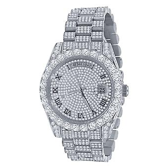 High Quality Iced Out Zirconia Stainless Steel Watch - silver