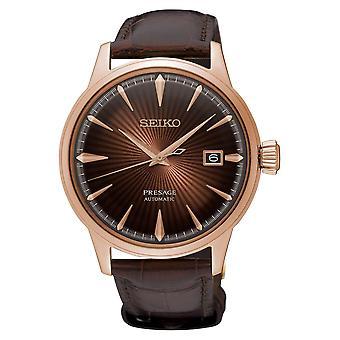 Seiko SRPB46J1 Presage Ruusu kulta & ruskea nahka automaattinen Men's Watch