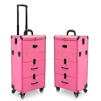Large Capacity Trolley Cosmetic Case Rolling Luggage Bag, Nails Makeup Toolbox,