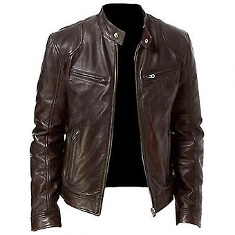 Men Fashion Motorcycle Leather Jacket Fit Coat Casual Zipper Jacket