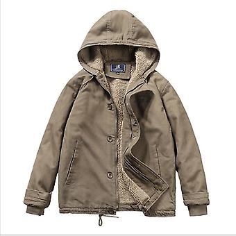Men's Cotton-padded Jacket With Hood Washed And Fleece Tooling Cotton-padded Jacket