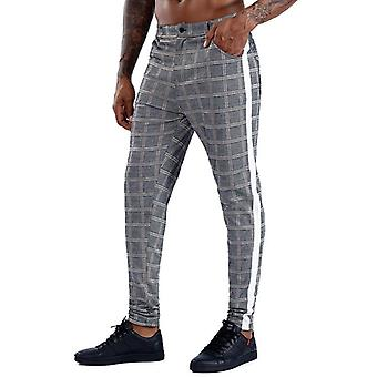 Streetwear Chinos Plaid Casual Fitness Skinny Bottom Jogger Pantaloni