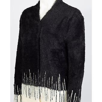 Un acogedor suéter de cárdigan de punto largo cálido con trébol Art Déco