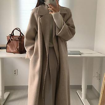 Women Elegant Long Wool With Belt Solid Color Sleeve Chic Outerwear Overcoat