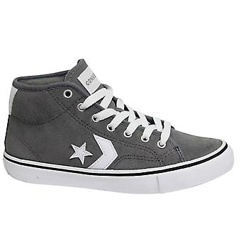 Converse Star Replay Mid Grey White Leather Dentelle Up Junior Trainers 665324C