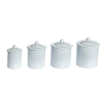 Dolls House Miniaturowe Kuchnia Akcesoria Zwykły Biały Kanister Przechowywanie Jar Zestaw 4